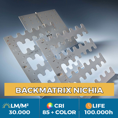 Moduli professionali BackMatrix Nichia LED, fino a 39.000 lm/metro quadro