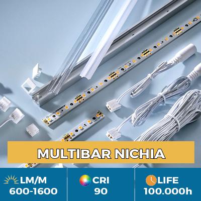 Strisce LED Nichia Multibar professionali, Plug & Play, CRI90+, flusso fino a 1500 lm/m