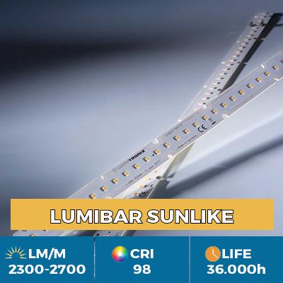 Moduli LinearZ professionali con Toshiba-SSC SunLike TRI-R LED CRI97  , Plug & Play Zhaga, flusso fino a 2600 lm / m