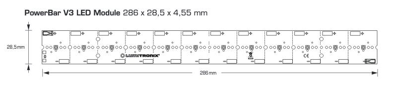Modulo PowerBar UVA LED, uscita UVA 12.1W UVA, ingresso di potenza 31W, 12 Nichia LEDS